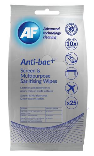 AF Antibacterial Travel Wipes for Screens & Surfaces Pack 25