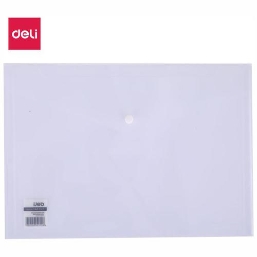 Deli Button Wallet A4 Clear Pack 10
