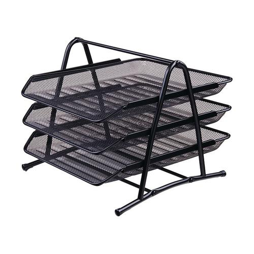 Deli Mesk Letter Tray Set 3 Tier Black