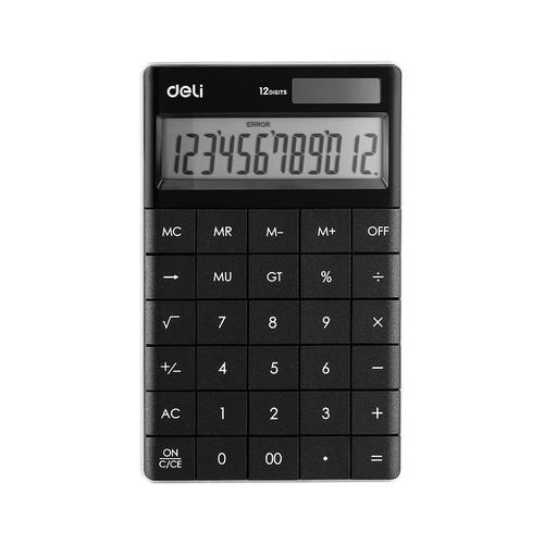 Deli Semi Desk Calculator 12 Digit Black