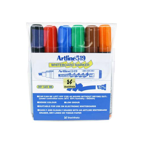 Artline 159 Dry Wipe Marker Chis Ast 6 Cols