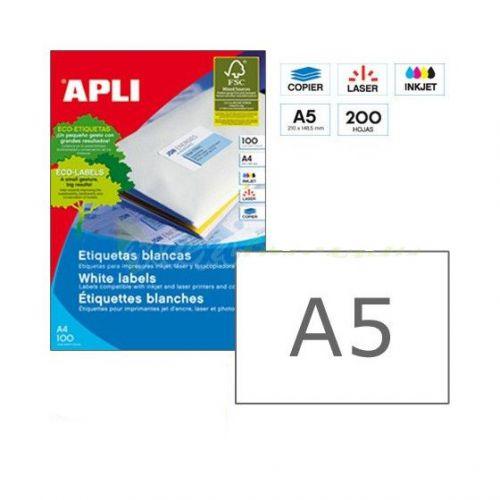 Apli 1243 Laser/Copier Labels A5, 2up