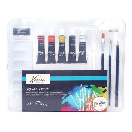 Fine Art 10 Watercolour Set With Brushes Pallet