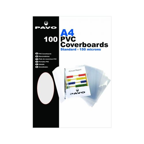 Pavo A4 PVC Clear Covers, 150 micron Pk100
