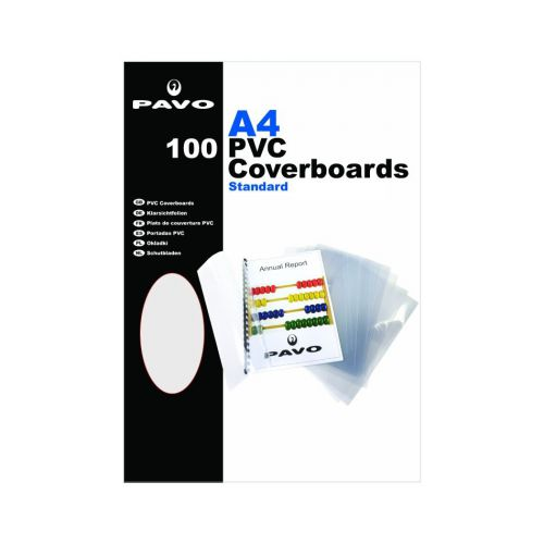 Pavo A4 PVC Clear Covers, 180 micron Pack 100