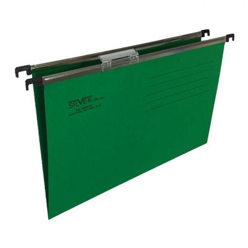 Cartesio Silver Suspension File Foolscap Green 15mm 50s