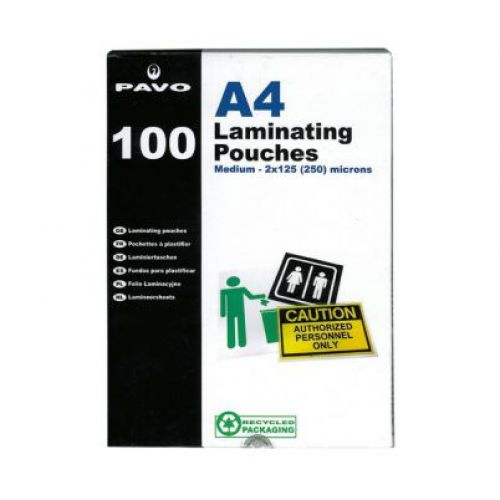 Pavo Laminating Pouches, A4 250 micron Bx100