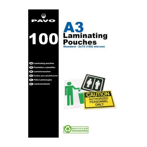 Pavo Laminating Pouches, A3 150 micron Bx100