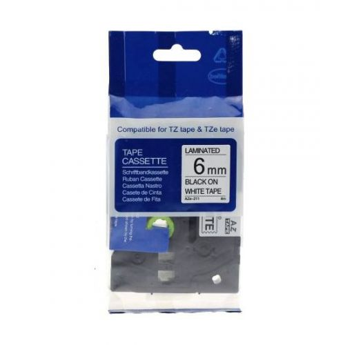 Brother Compatible AZe 211 Tape 6mm Bk/Wh