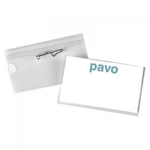 Pavo Security Name Badge With Safety Pin 54x90mm Pack 50 Code 8009206
