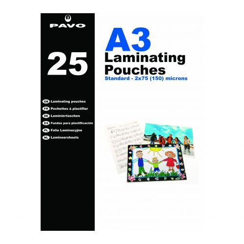 Pavo Laminating Pouches, A3 150m, Retail Pack
