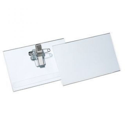 Pavo Combi Clip Name Badge, 56x90mm, clear pvc