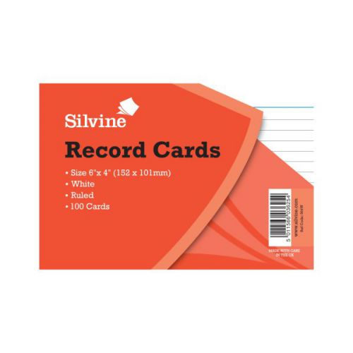 Record Cards 6x4 white Pack100
