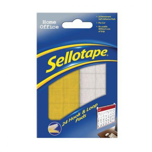 Sellotape Hook  Loop squares 20mm Pk24