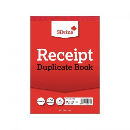 Silvine, 230 Duplicate Receipt Book 4x5.5 2up