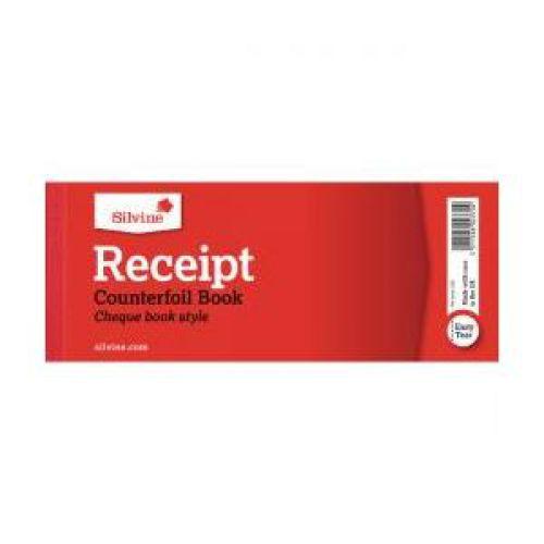 Silvine, 233 Receipt Books 76x203mm Counterfoil