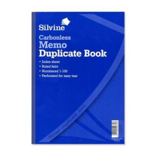 Silvine Carbonless Duplicate Memo Book 1-100 A4