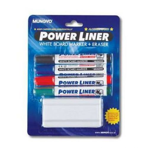 Powerliner Wipeboard Markers Chisel Ast 4 with Eraser