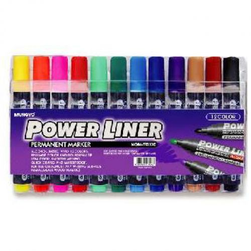 Powerliner Permanent Markers Chisel Ast 12 colours