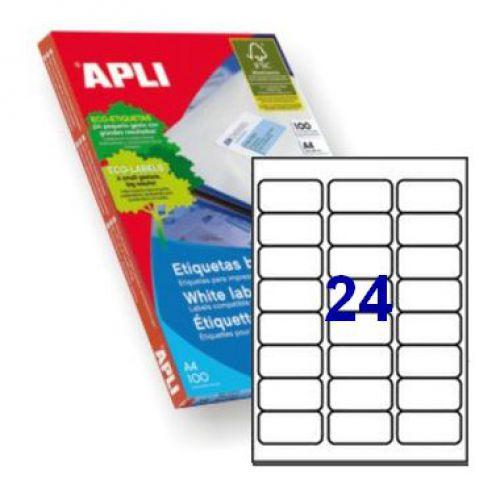 Apli 2409 Laser/Inkjet Labels 64x33.9mm 24up