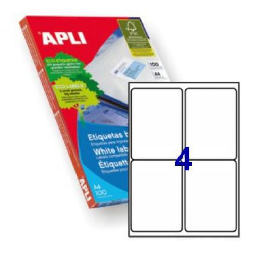 Apli 2422 Laser/Inkjet Labels 99.1x139mm     4up