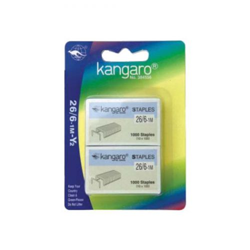 Kangaro Staples 26/6 2x1000 per card Pk20