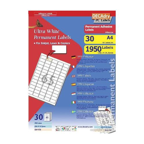 Decadry Sheet Labels 65up Pack 30