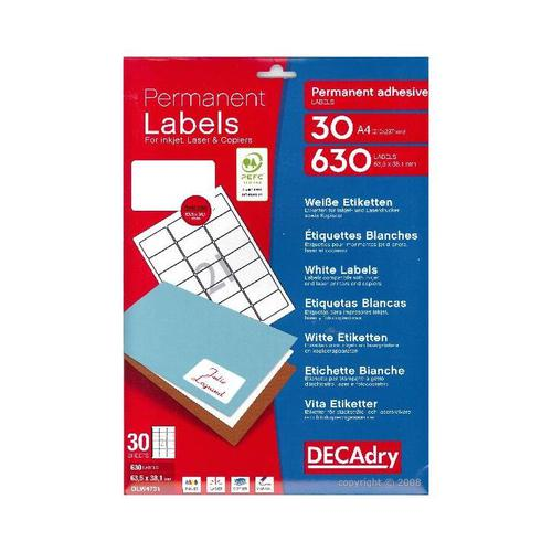 Decadry Sheet Labels 21up Pack 30