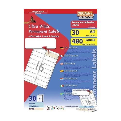 Decadry Sheet Labels 16up Pack 30