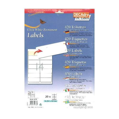 Decadry Sheet Labels 14up Pack 30