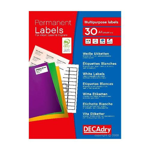 Decadry Sheet Labels 8up Pack 30