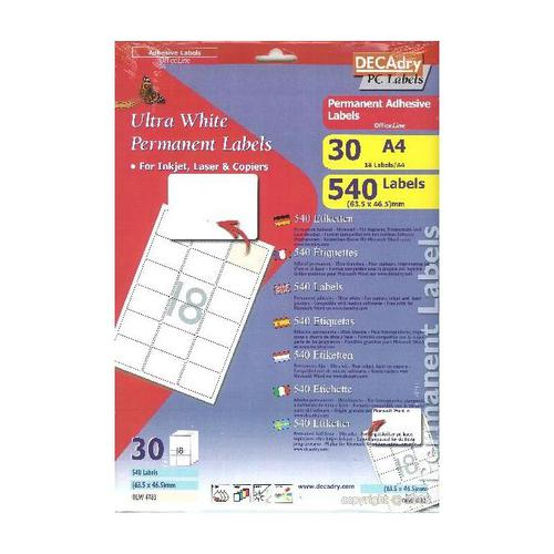 Decadry Sheet Labels 24up Pack 30
