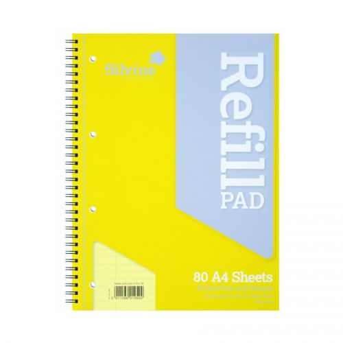Silvine Wirebound Refill Pad A4 Feint and Margin Yellow