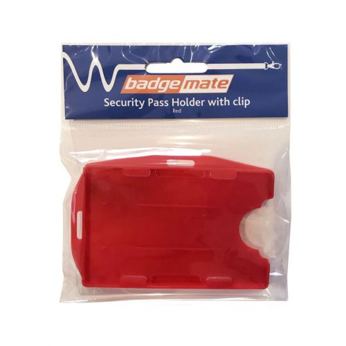 Plastic Card Holder with Clip Red Bx10