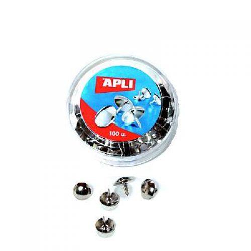 Apli Drawing Pins, Nickel 10mm 100s