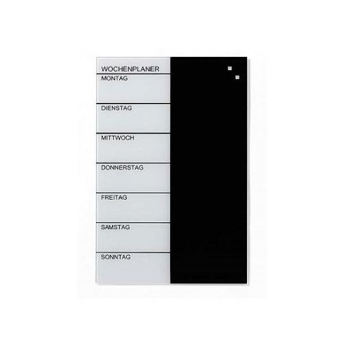 Franken Glassboard 400x600mm Black/White Week Planner