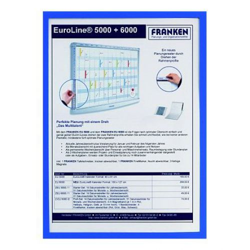 Franken Document Holder A3 Magnetic Blue Pack 5