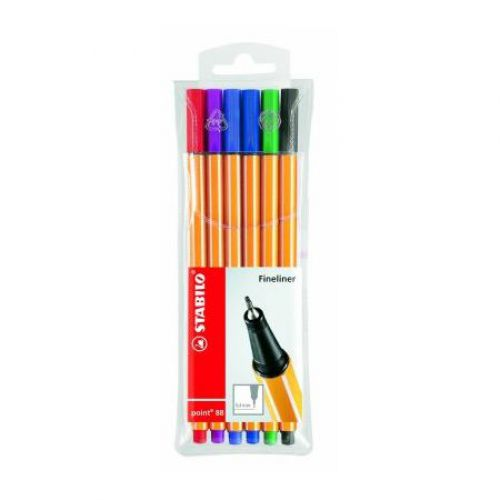 Stabilo, Finepen, 6 Assorted colours