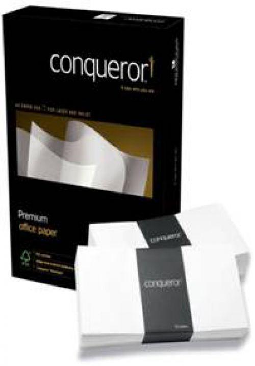 Conqueror Laid Wallet Envelopes Window DL Brilliant White Laid 120gsm (500) 01009