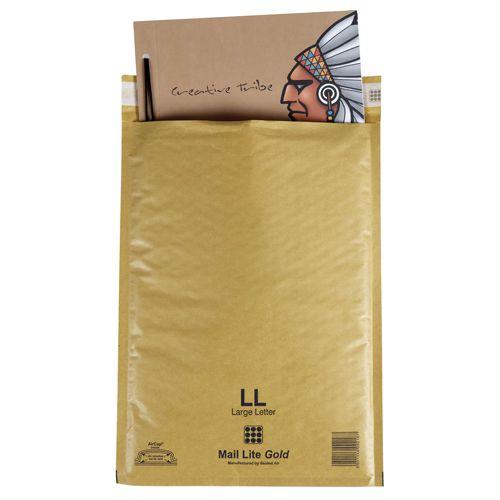 Mail Lite Gold Lightweight Postal Bag F/3 220x330mm Internal Pack 50
