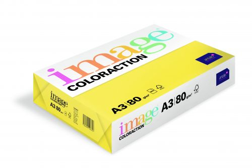 Coloraction Tinted Paper Mid Yellow (Canary) FSC4  A3 297X420mm 80Gm2 Pack 500