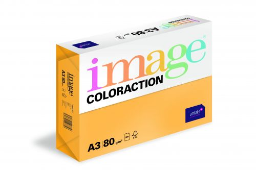 Coloraction Tinted Paper Mid Orange (Venezia) FSC4 A3 297X420mm 80Gm2 Pack 500 Plain Paper PC1829