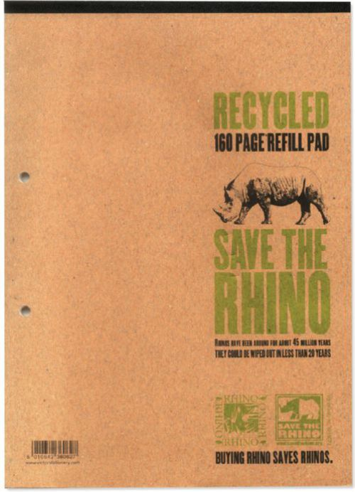 Rhino Recycled Refill Pad 8mm Ruled Margin Headbound A4 80 Leaves Pack of 5 RH4FMR 3P