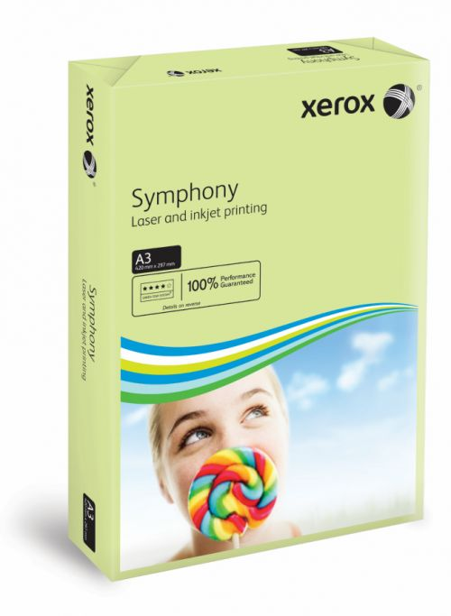 Xerox A3 Symphony Tinted 80gsm Pastel Green Copier Paper (Pack of 500) 003R91955