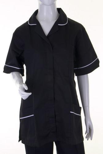 Poly-Cotton Workwear Ladies Tunic Blk/Wht 80Cm  06   Atubl06
