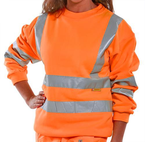 B-Seen Hv Polo/Sweatshirt Sweatshirt Orange Hi Viz  L  Bssenorl