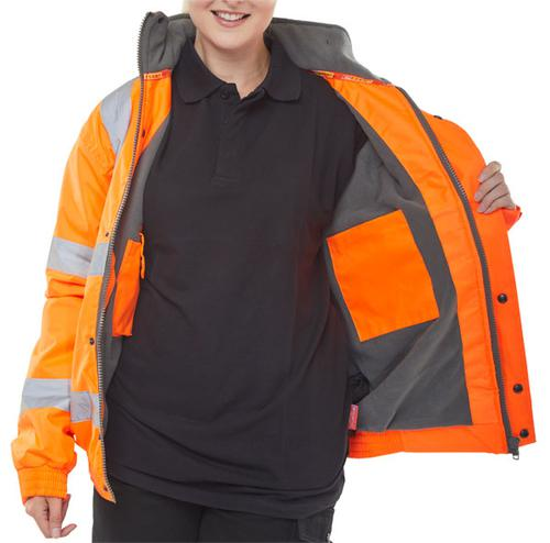 Bomber Jacket Fleece Lined Hv Orange Sml Cbjflors