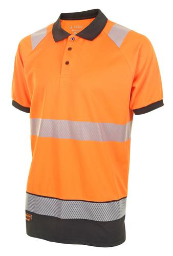 Hivis Two Tone Polo Shirt S/S Or/Blk Xl Hvtt010Orb lxl