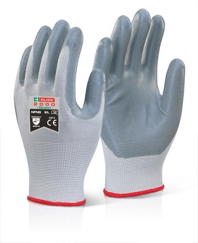 Click 2000 Glove Range - Nitrile Foam Nylon Glove 08 M Pk100