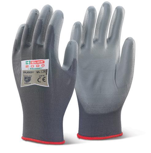 Click 2000 Glove Range - Pu Coated Glove Grey Larg e  Pk100